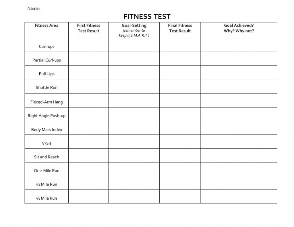 Printables Fitness Goals Worksheet Lemonlilyfestival