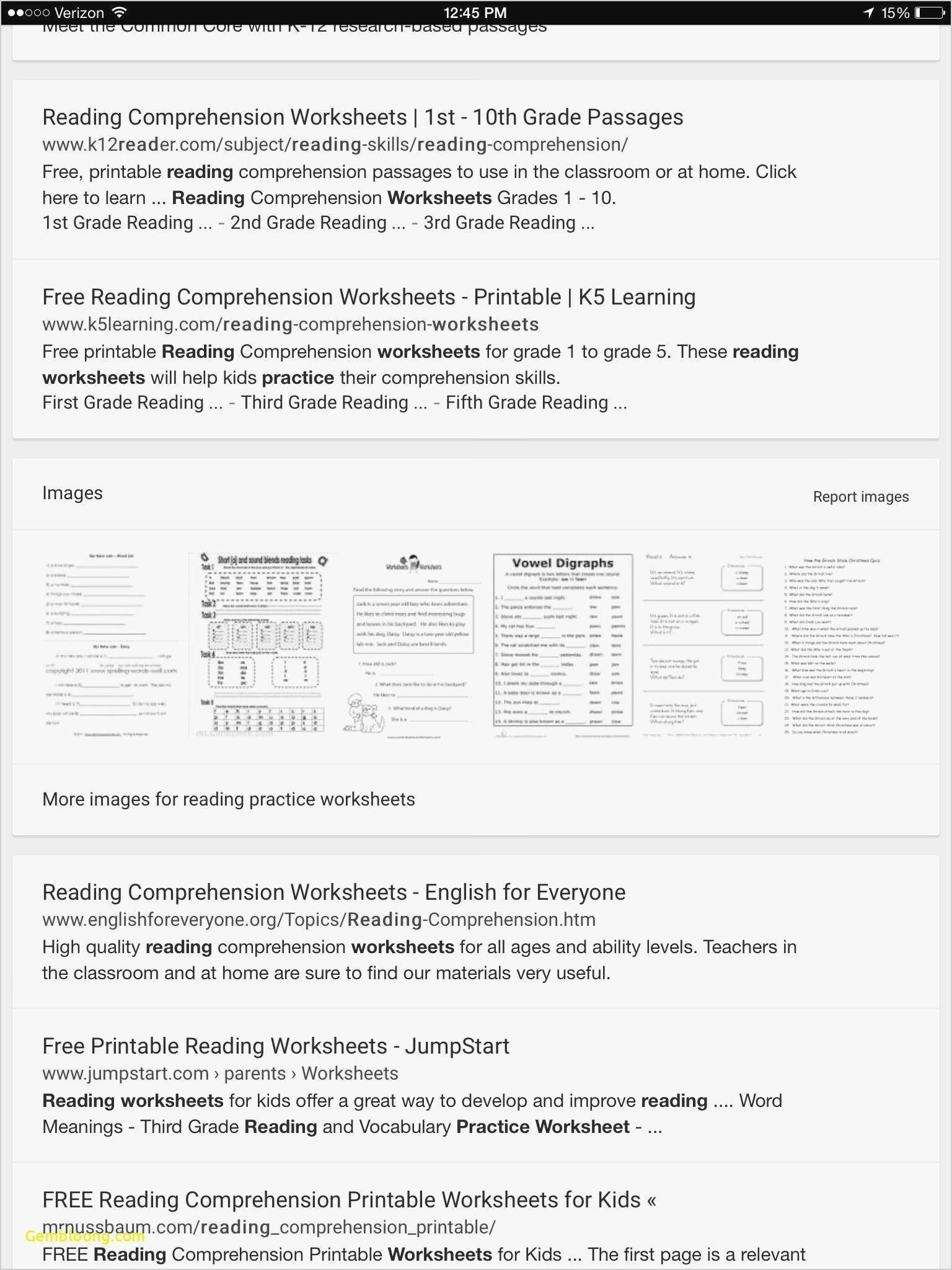 Reading Worksheeets
