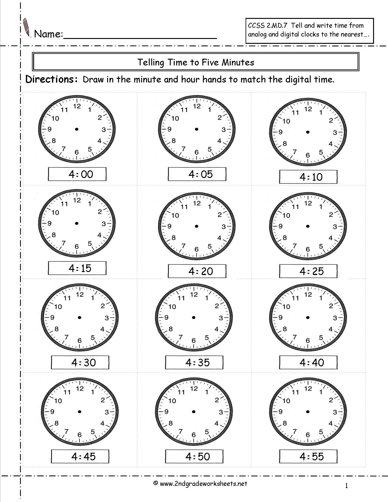 Telling Time Worksheet Printable