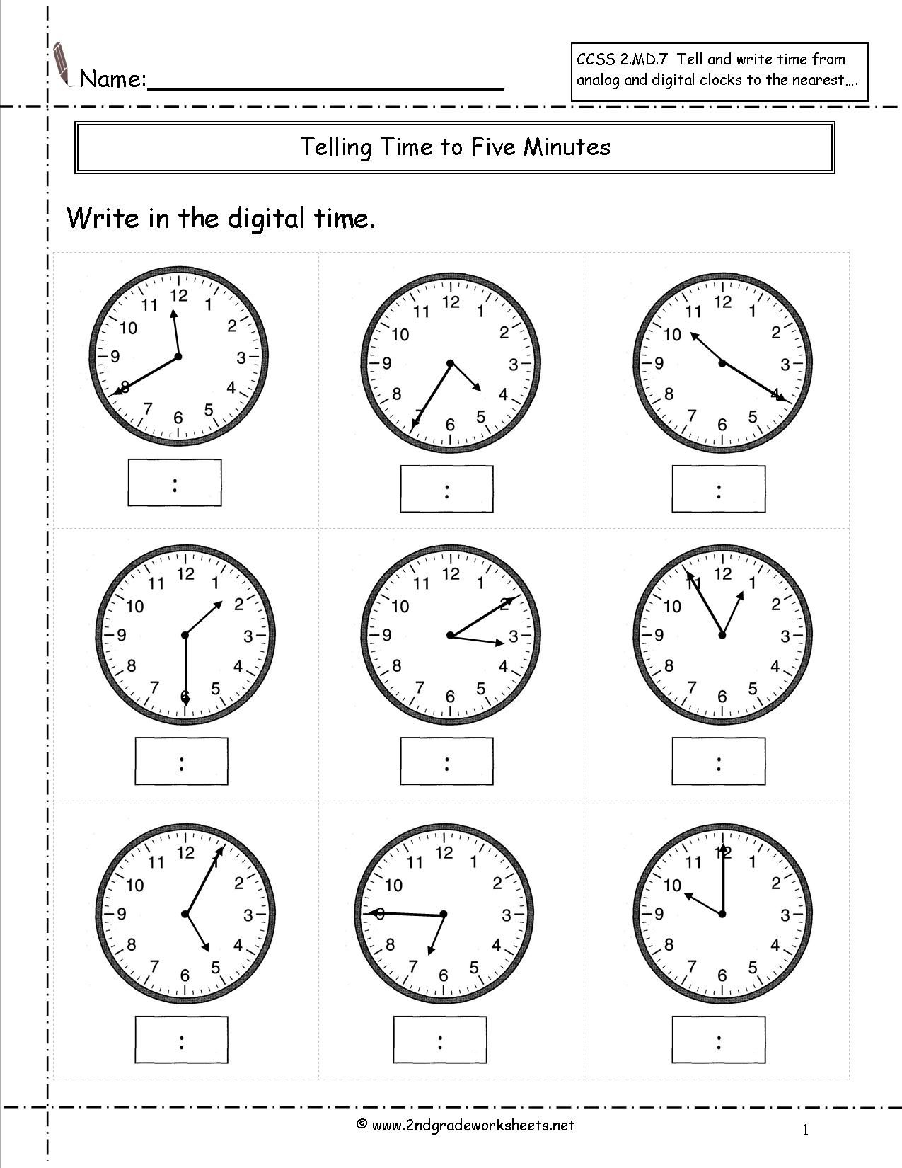 Telling Time To Nearest Five Minutes Worksheet