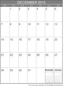 Calendar template December 2015