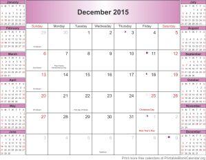 December 2015 montlhy calendar
