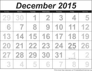 Free calendar December 2015