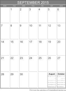 Free calendar September 2015