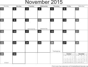 November 2015 free printable calendar