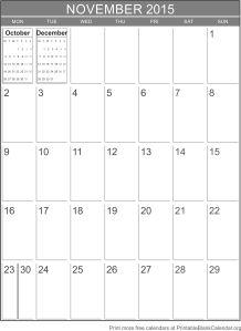 November 2015 montlhy calendar