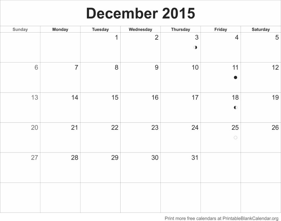 December 2015 Printable Blank Calendar - Printable Blank Calendar.Org