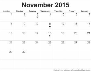Printable calendar November 2015
