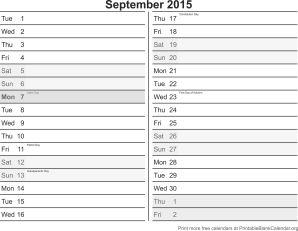 September 2015 calandar