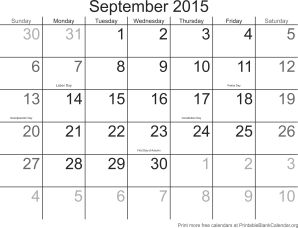 September 2015 calendar with holidays