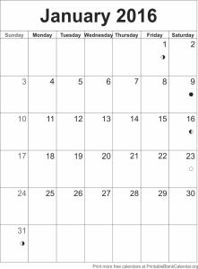 Calendar template January 2016
