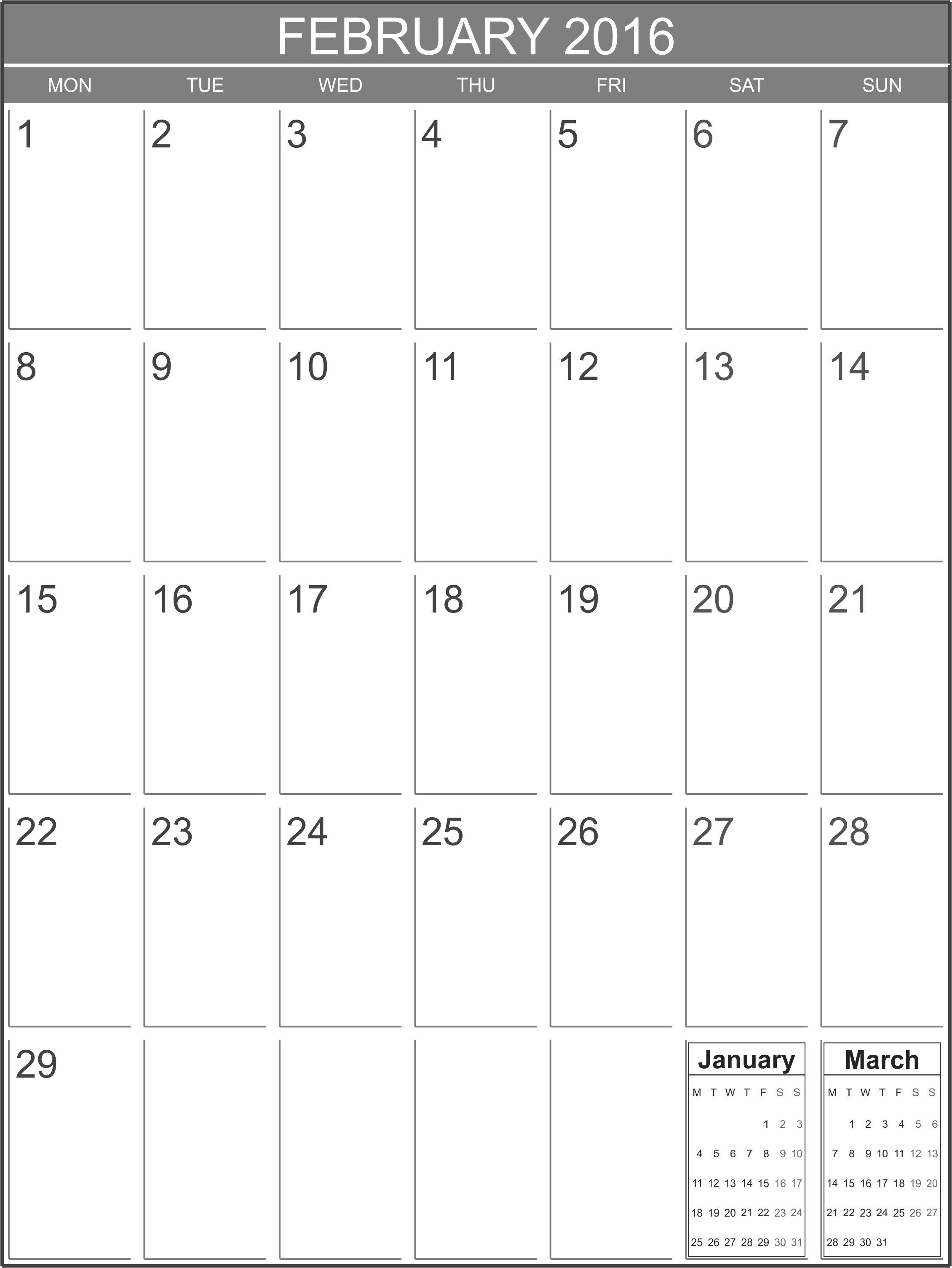february 2016 blank calendar template printable blank calendar org