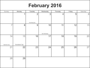 February 2016 calander