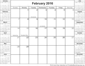 February 2016 free printable calendar