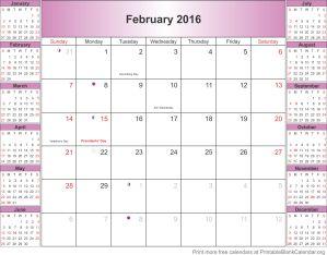 free calendar February 2016