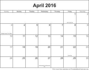 april 2016 calendar with holidays