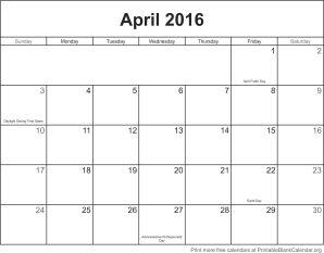 april 2016 calendar with holidays