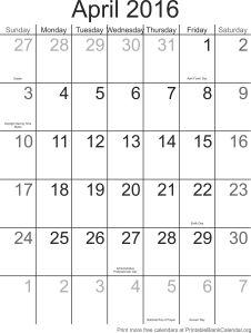 april 2016 free printable calendar