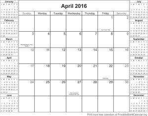 april 2016 montlhy calendar