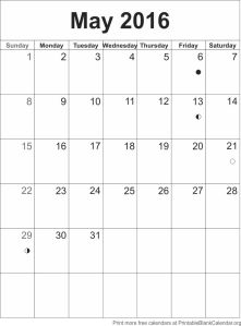 Calendar template May 2016