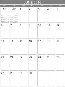 Free calendar June 2016