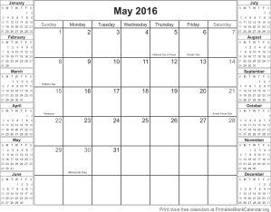May 2016 montlhy calendar