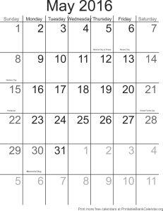 May 2016 printable calendar template