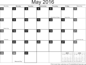 Printable calendar May 2016