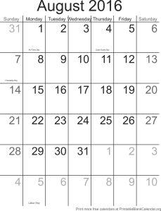 August 2016 printable calendar template