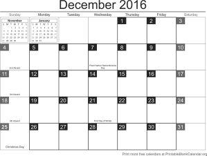 December 2016 calandar