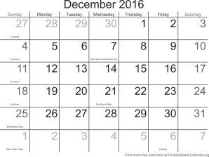 December 2016 printable calendar template