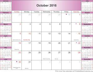 October 2016 blank calendar template