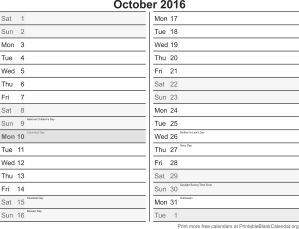 October 2016 calandar