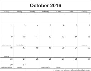 October 2016 montlhy calendar