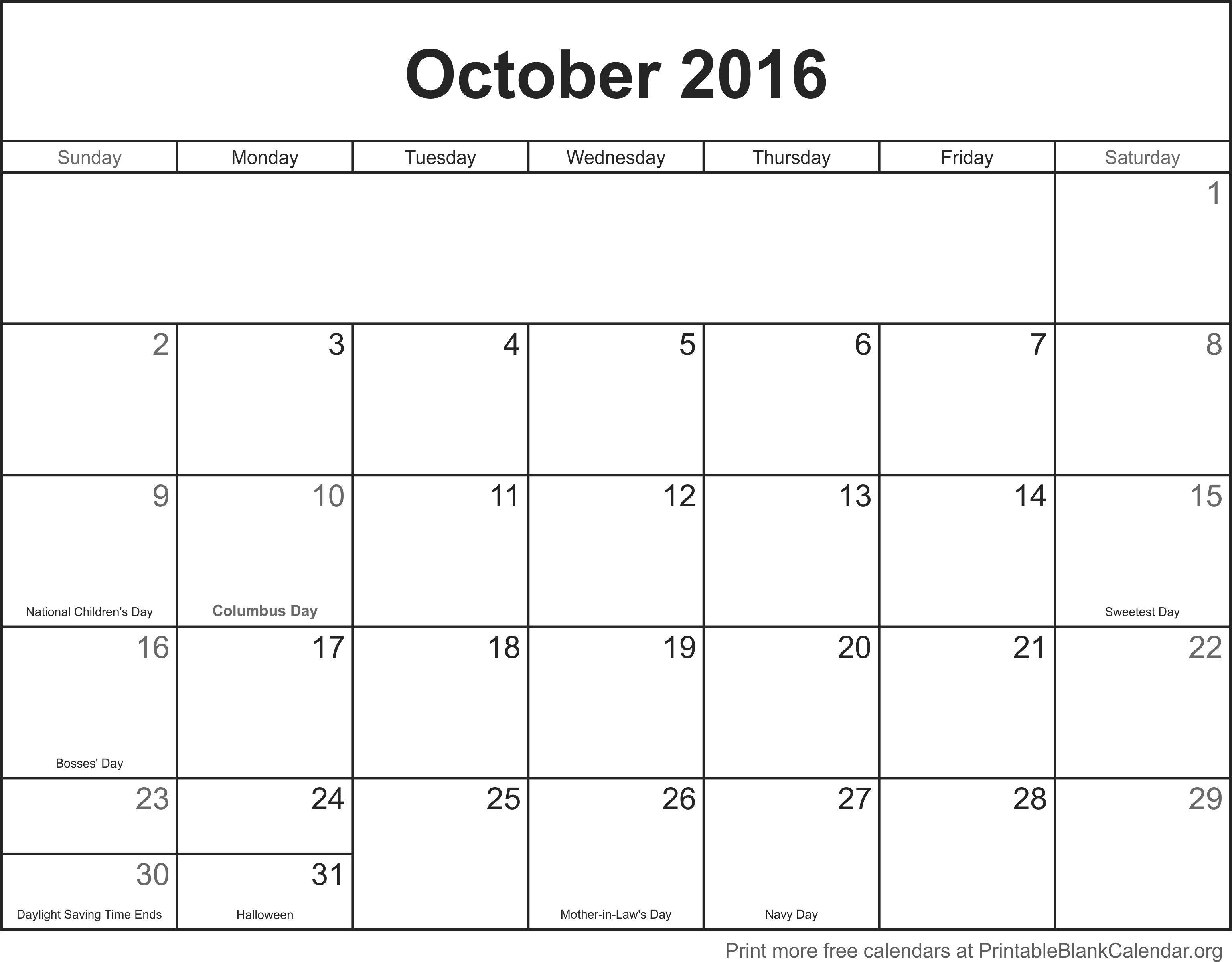 October 2016 Printable Blank Calendar