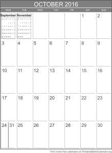 October 2016 printable calendar template
