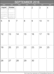September 2016 printable calendar template