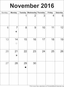 calendar template november 2016