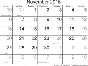 november 2016 montlhy calendar