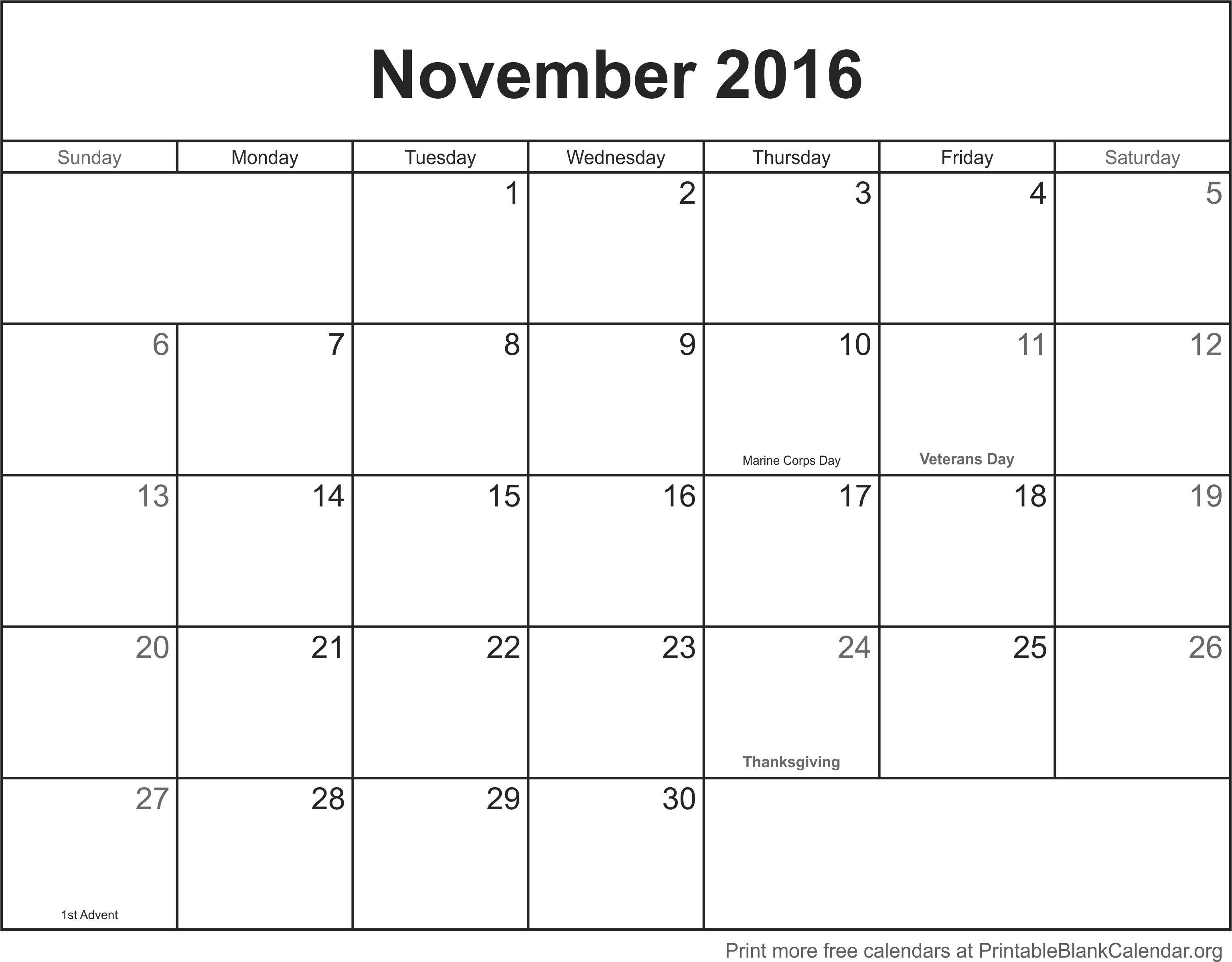 November Monthly Calendar Template : November printable blank calendar