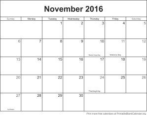 november 2016 printable calendar template