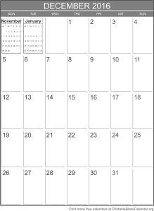 printable calendar December 2016