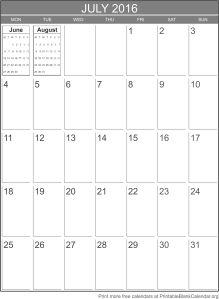 printable calendar July 2016