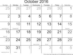 printable calendar October 2016