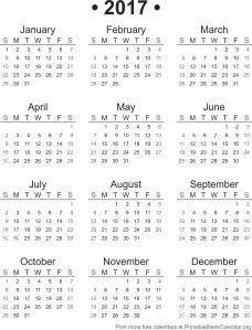 2017Blank Calendar