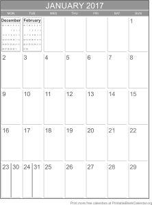 January 2017 blank calendar template