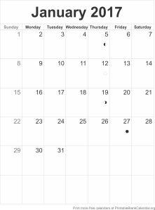 free calendar January 2017