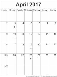 April 2017 blank calendar template