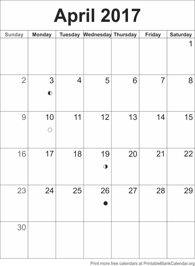April 2017 Blank Calendar Template Printable Blank Calendar
