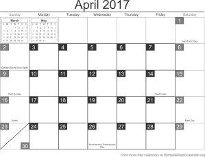 April 2017 calander